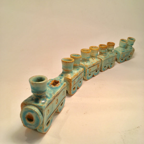Green Whistle Train Hanukkah Menorah