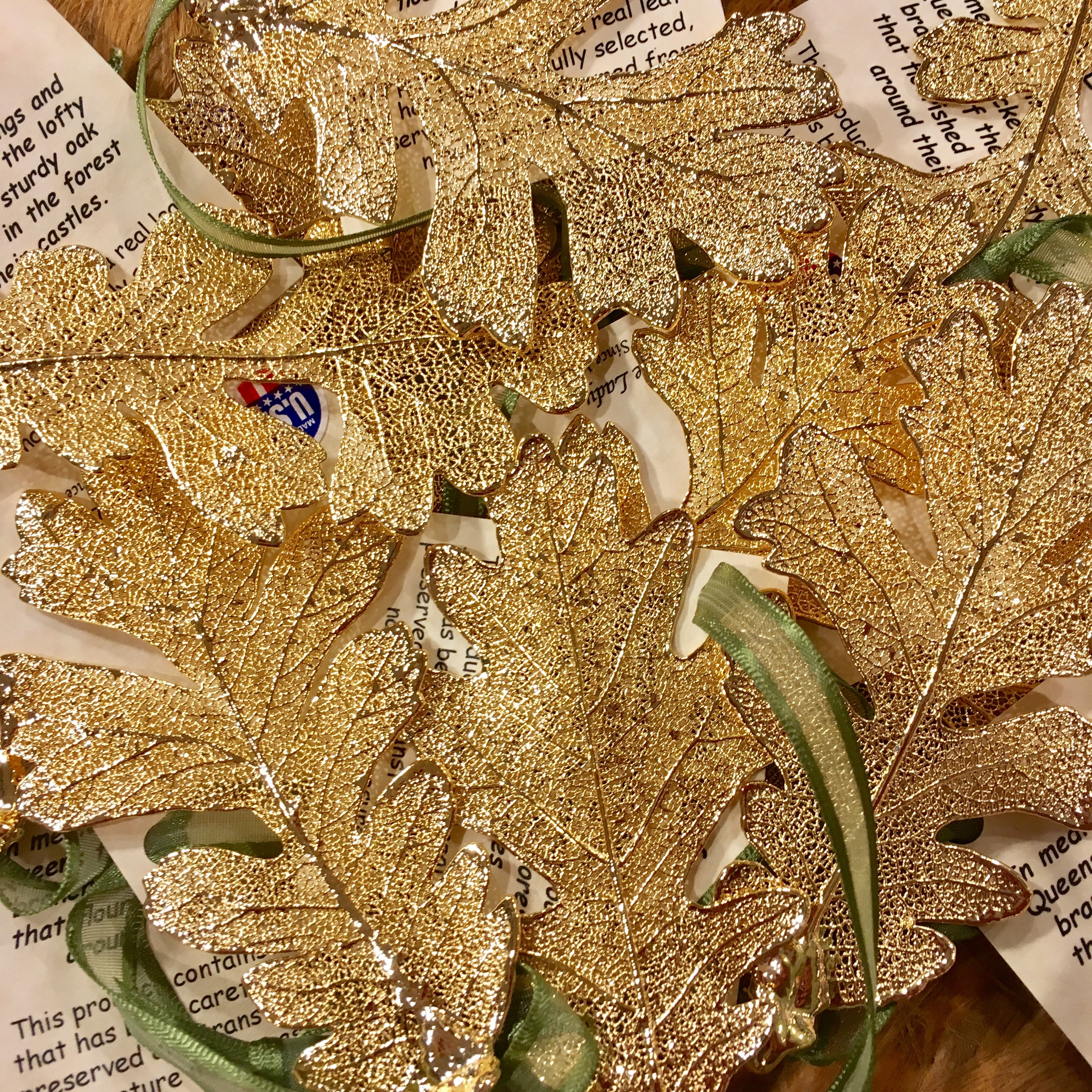 pair of gold fossilized oak leaf ornaments arcadiaptown pair of gold fossilized oak leaf ornaments