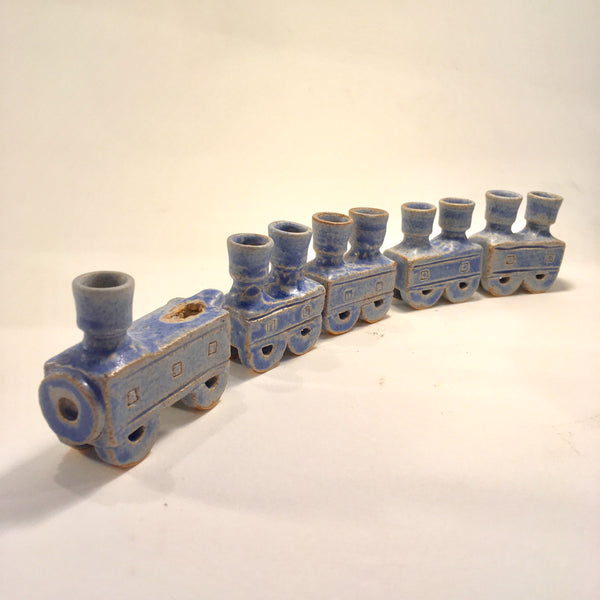 Blue Whistle Train Hanukkah Menorah