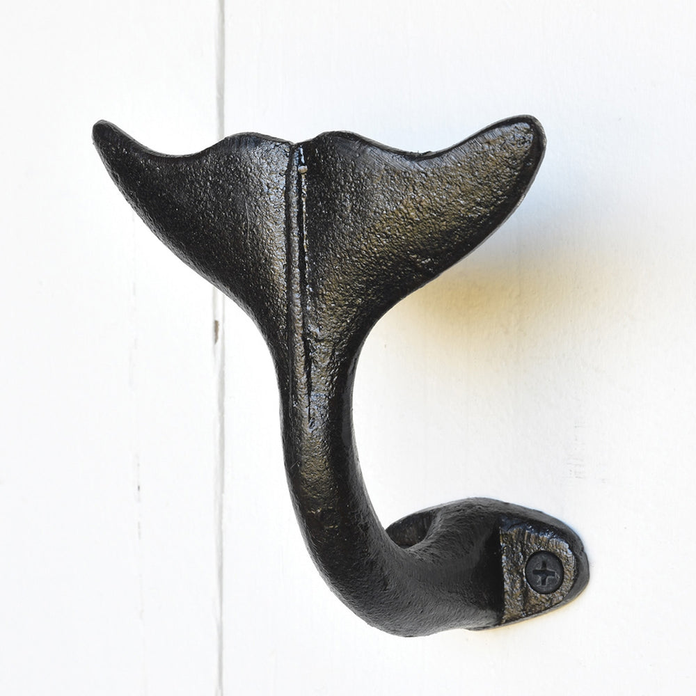 Pair of Recycled Cast Iron Whale Tail Wall Hooks