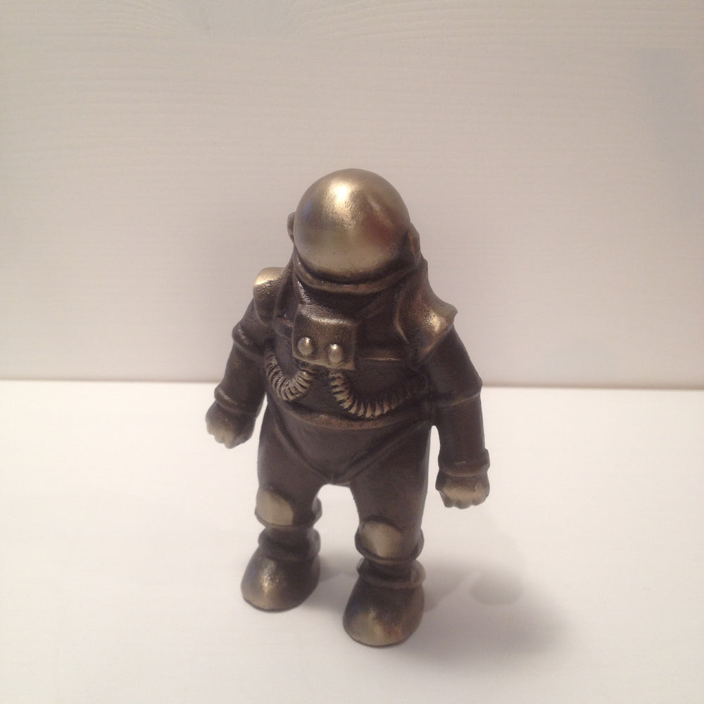 Cast Bronze and Aluminum Rocket Ship and Astronaut Coin Bank
