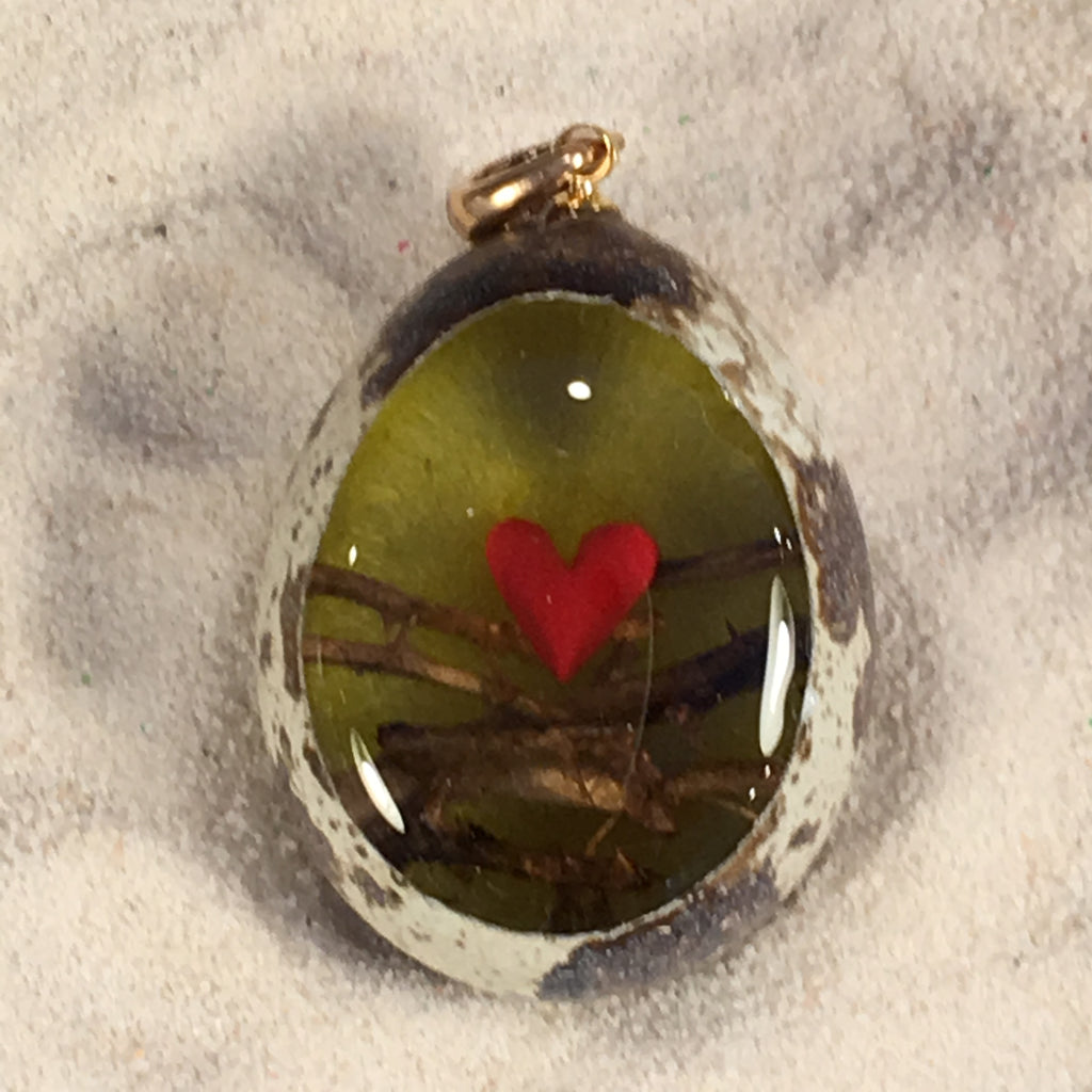 Protected Heart Quail Egg Ornament
