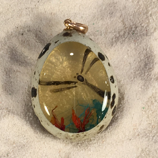 Dragonfly with Koi Fish Quail Egg Ornament