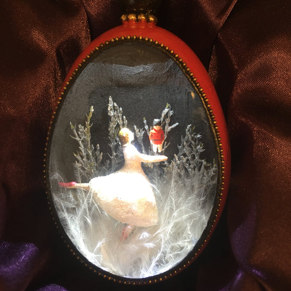 Nutcracker Duck Egg Ornament with LED Light