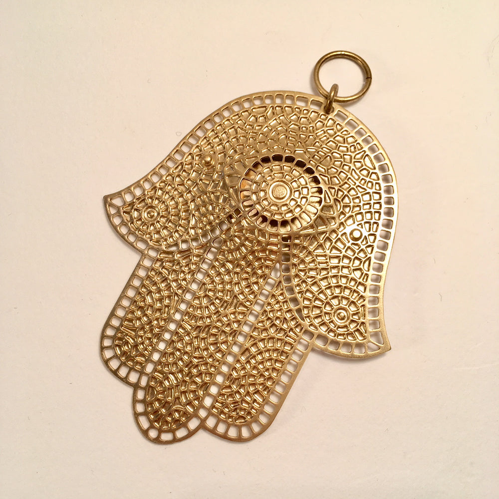 Incised Brass Mosaic Pattern Hamsa