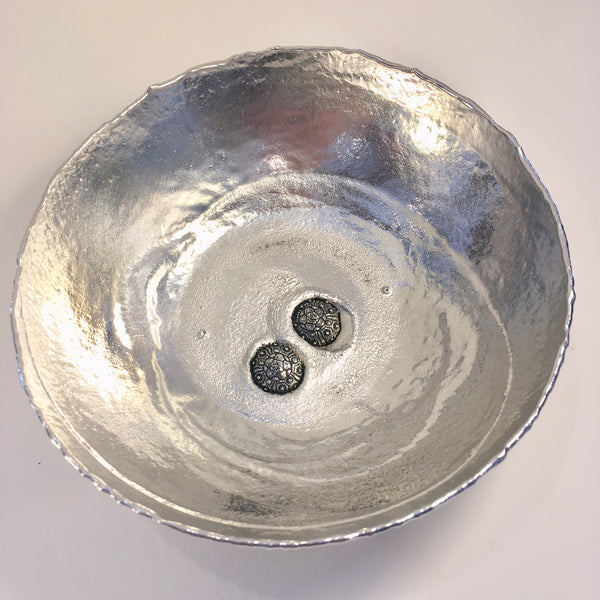 Fine Pewter Small Serving Bowl with Two Sea Urchin