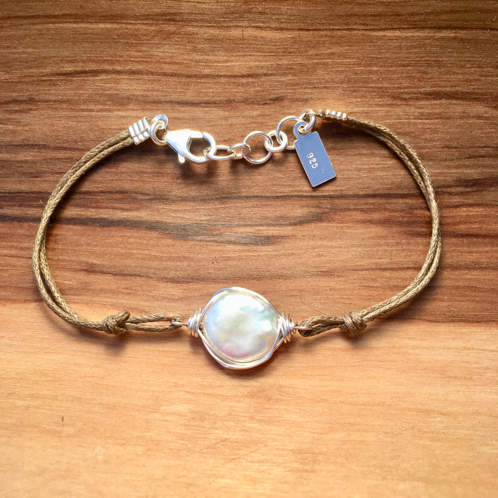 Sterling Silver Wire Wrapped Coin Pearl Bracelet