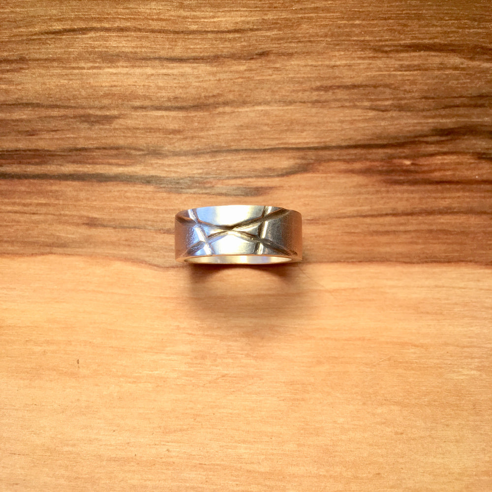 Etched Lines Sterling Silver Ring