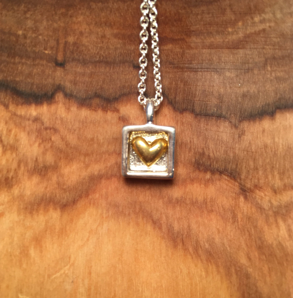 Gold Heart Sterling Silver Necklace