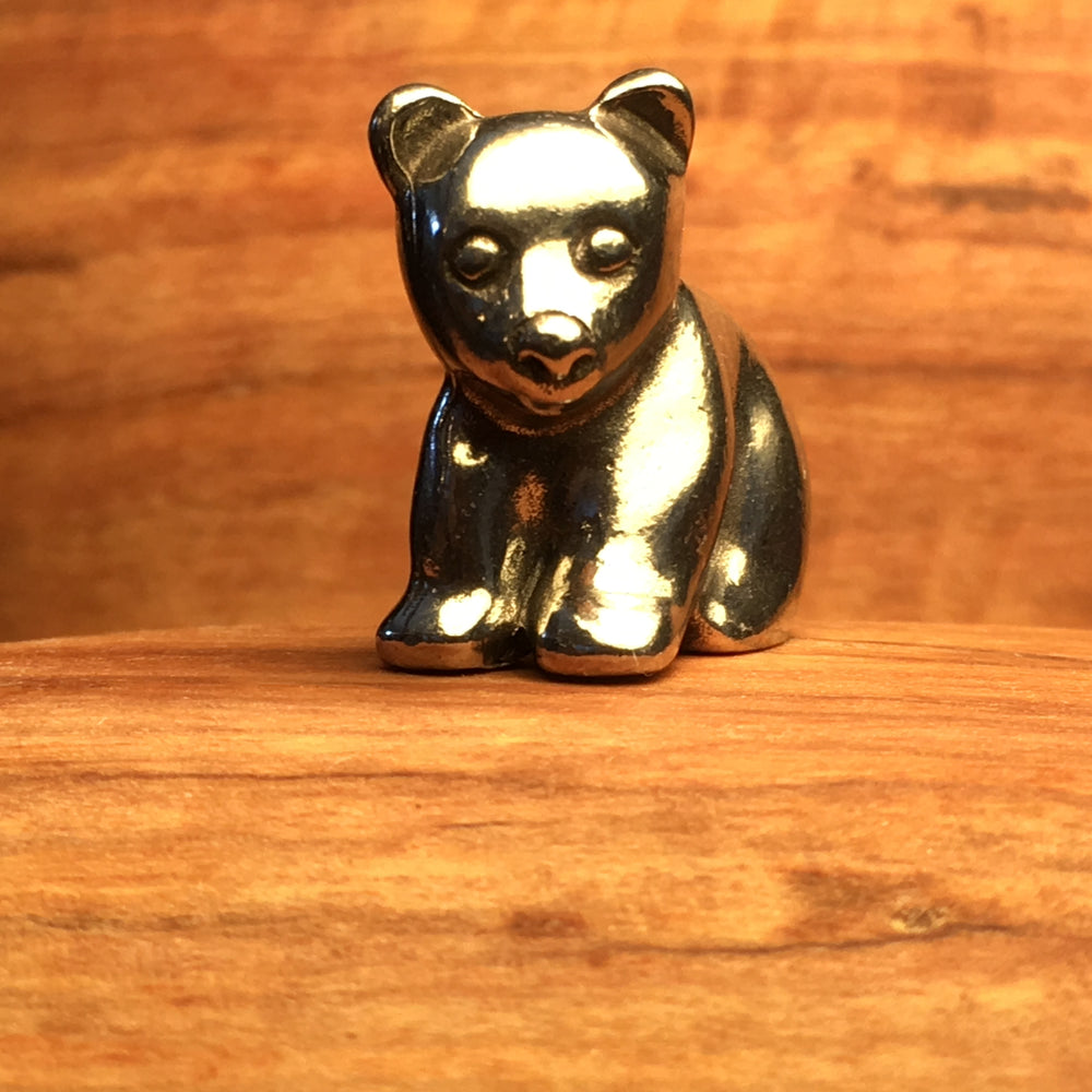 Set of Four Pewter Bear Cub Netsuke