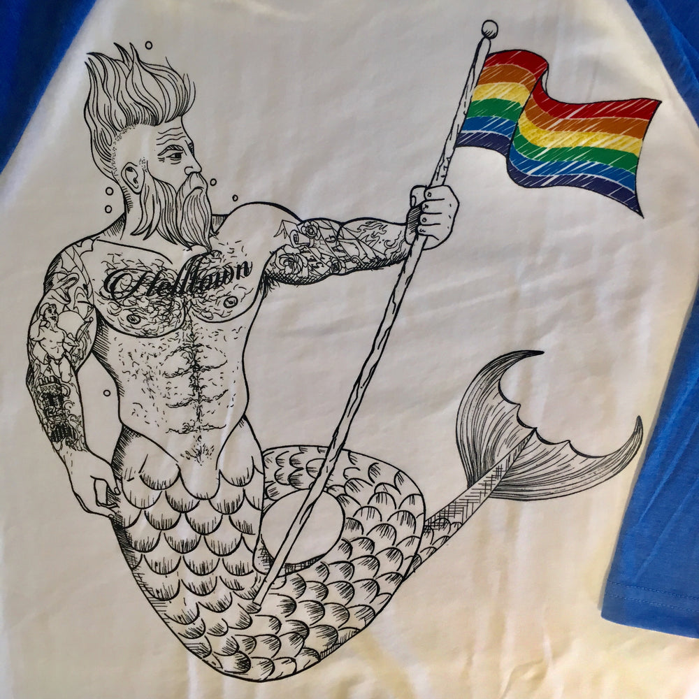 Rainbow Helltown Merman Baseball Shirt
