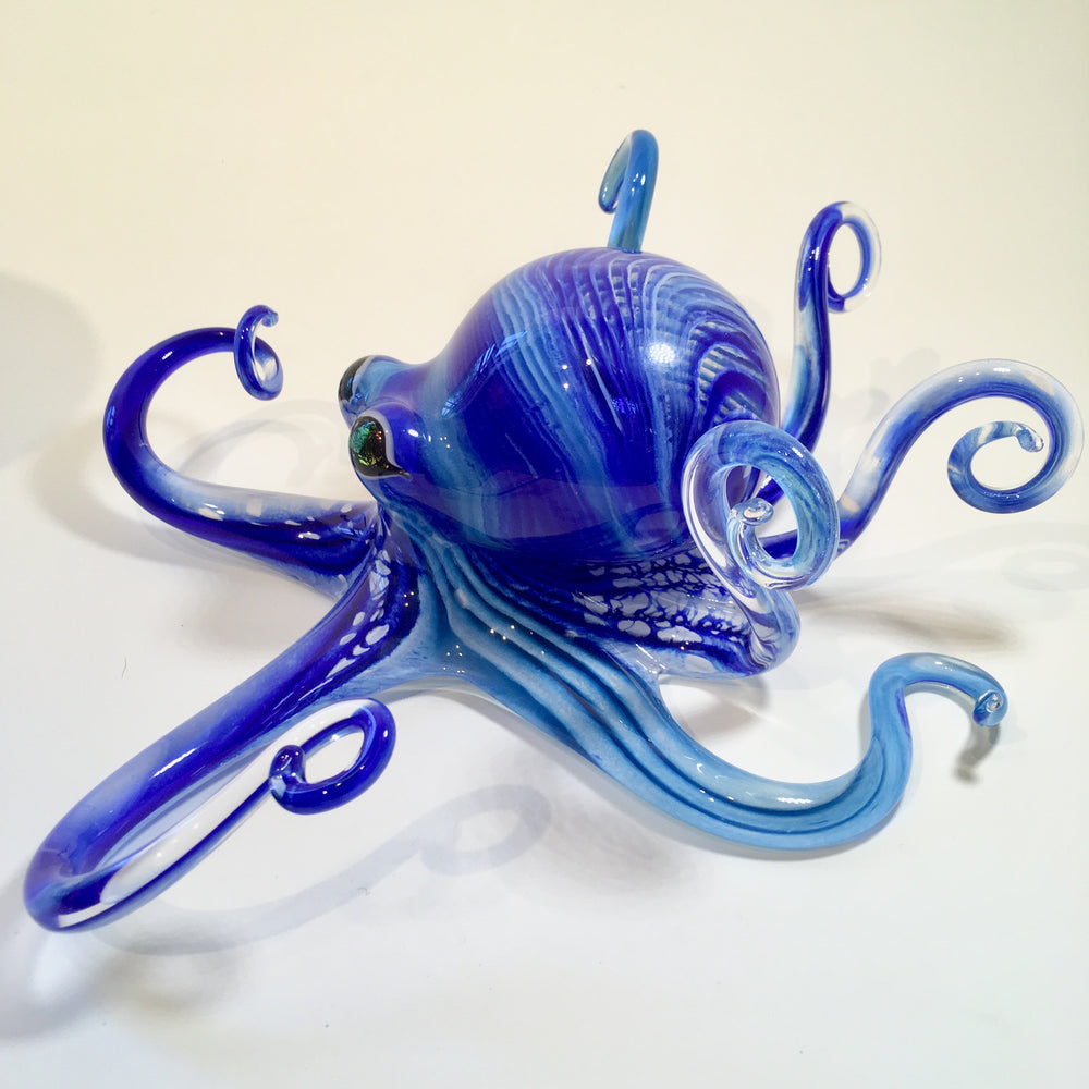 Large Blue and Turquoise Striped Blown Glass Octopus