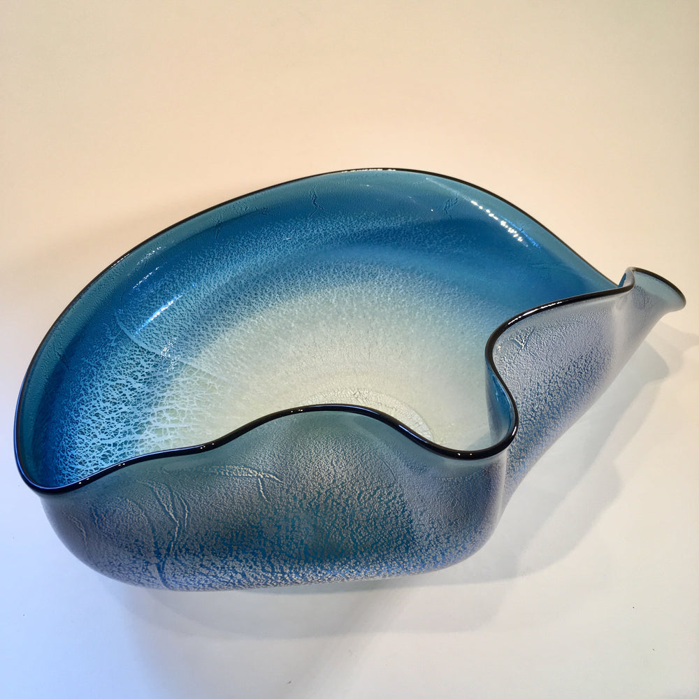 Aquamarine Organic Blown Glass Centerpiece Bowl