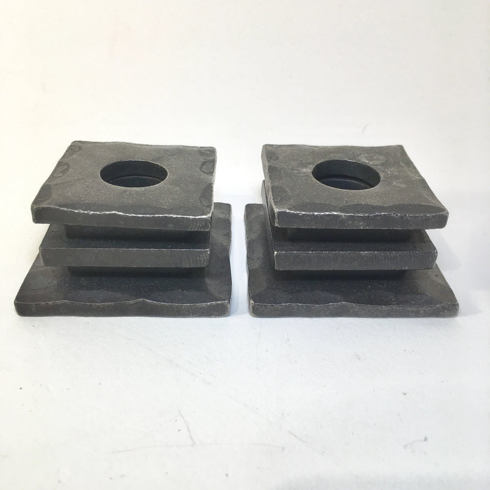 Stacked Wrought Iron Candle Holder Pair