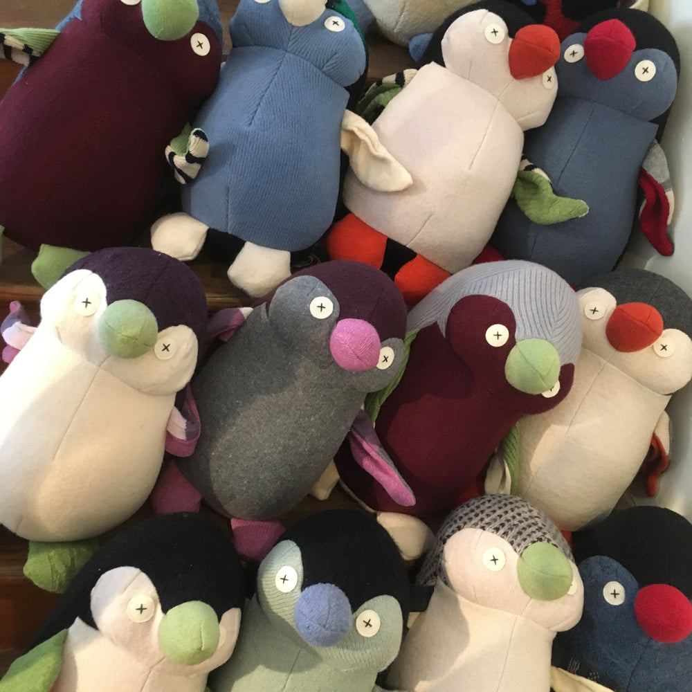 Recycled Wool Stuffed Penguins