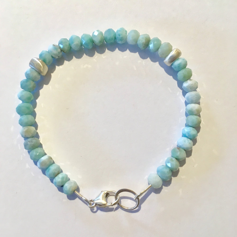 Faceted Larimar and Brushed Sterling Silver Bracelet