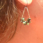 Emerald and Pyrite Beaded Earrings on Hammered Gold
