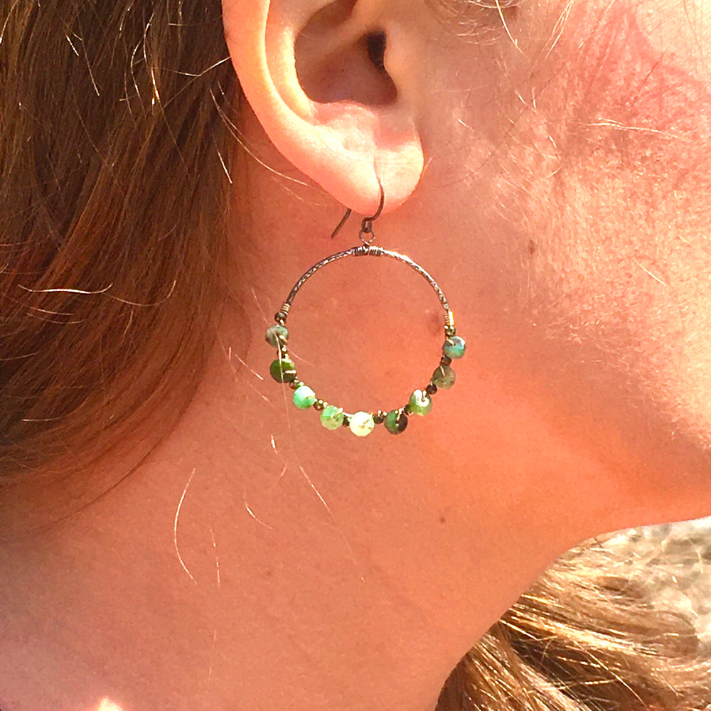 Forest Emerald and Pyrite Circle Earrings