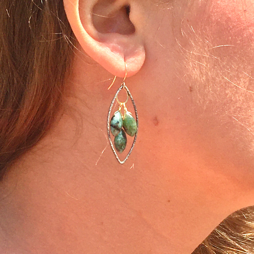 Oxidized Sterling Marquis Earrings with Emerald and Gold Accents