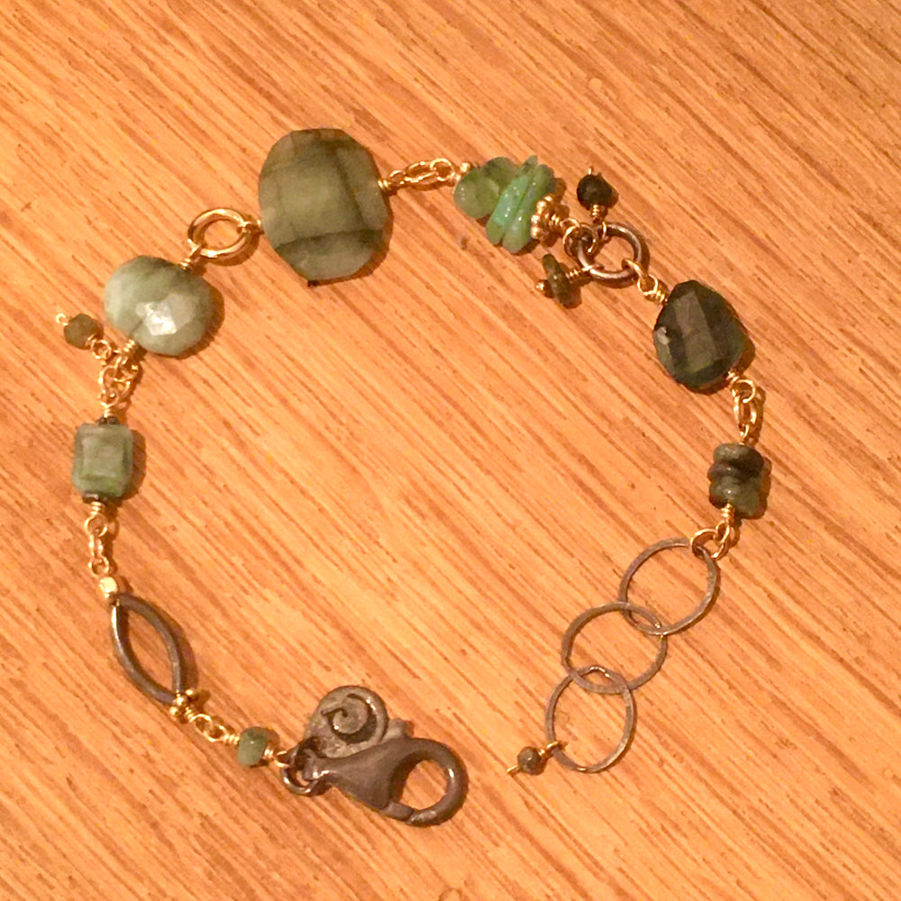 Organic Faceted Emerald Bracelet