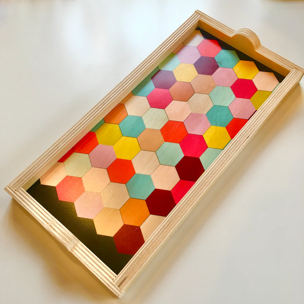 Rainbow Honeycomb Birch Wood Trays