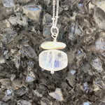 Brushed Sterling Silver Stone and Faceted Moonstone Pendant Necklace