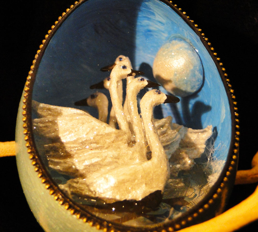Seven Swans a Swimming Duck Egg Ornament