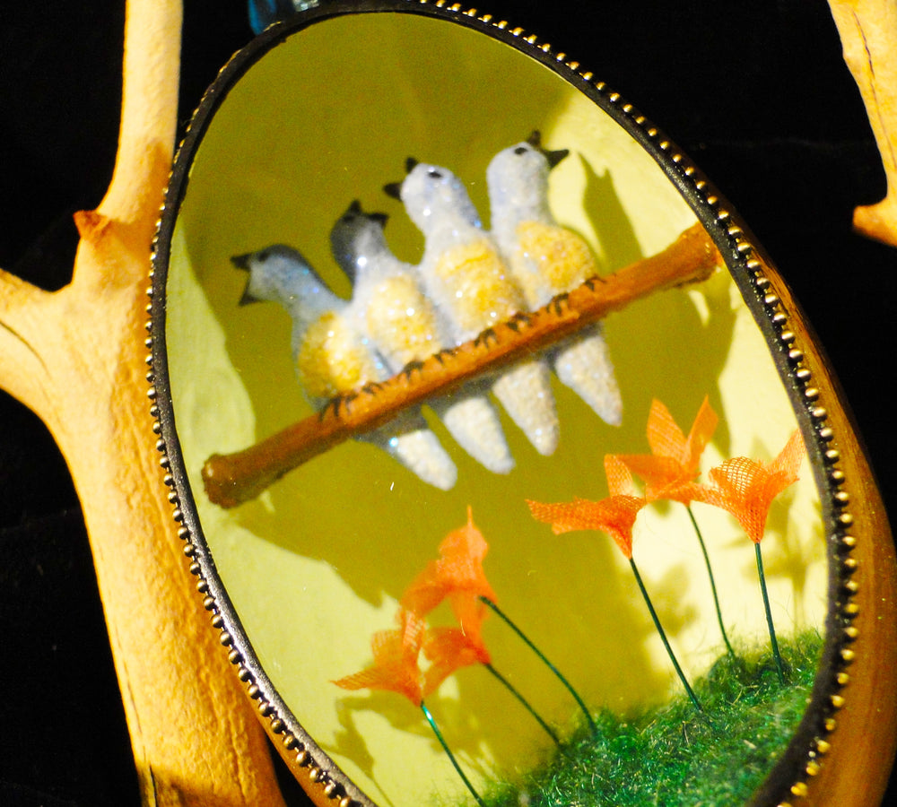 Four Calling Birds Goose Egg Ornament