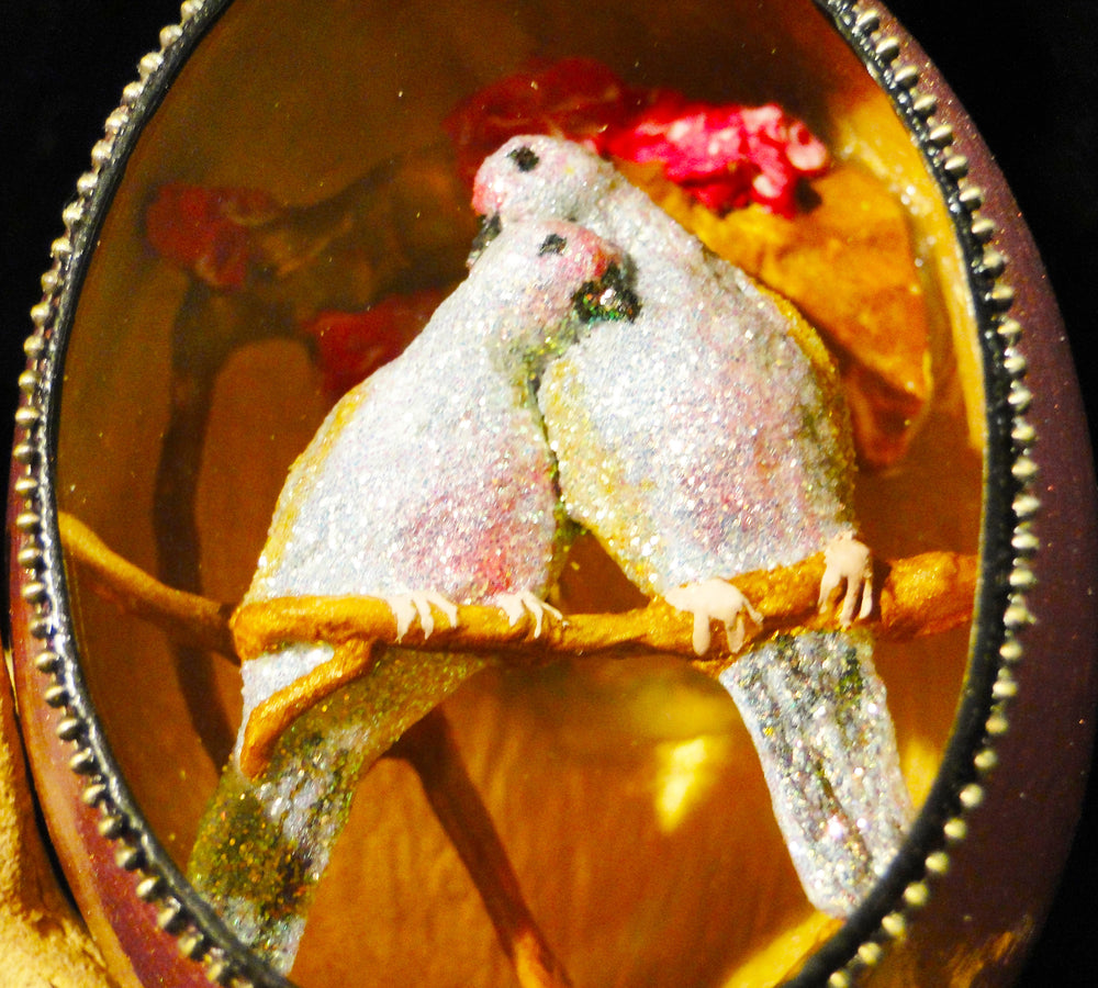 Two Turtle Doves Duck Egg Ornament
