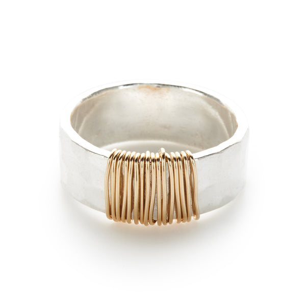 14K Gold Fill Wire Wrapped Sterling Silver Ring