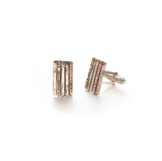 Sterling Silver Hammered and Etched Line Cuff Links