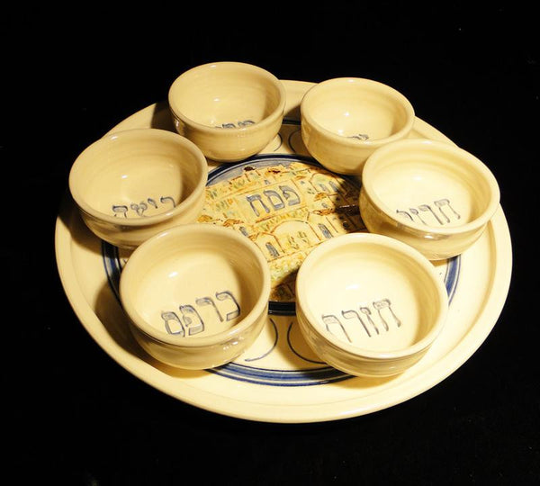 Jerusalem in Spring Seder Plate with 6 Bowls