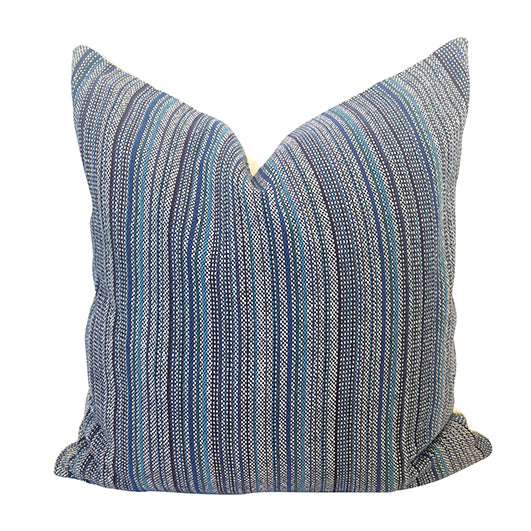 "Blues and Navy 20"" Handwoven Cotton Pillow"