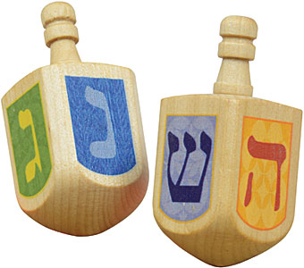 Set of 6 Wooden Dreidels