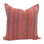 "Multicolor and Scarlet 20"" Handwoven Cotton Pillow"