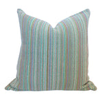 "Bright Blues and Aquas 20"" Handwoven Cotton Pillow"