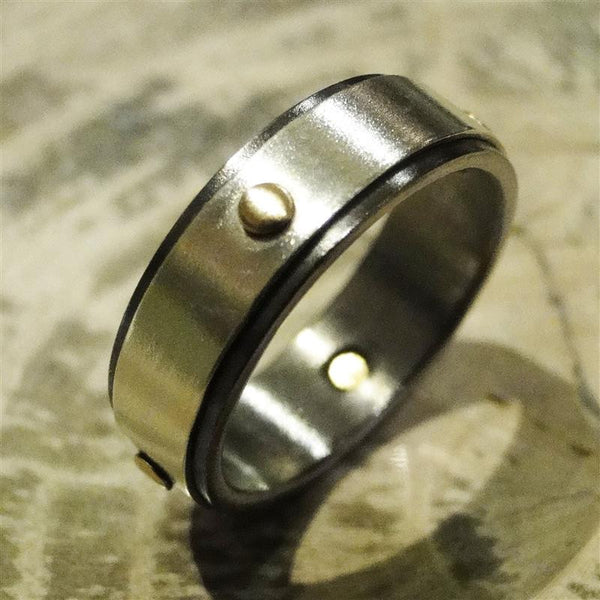 Niobium, Sterling Silver and 14K Gold Ring