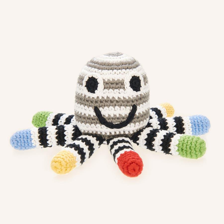 Fair Trade Cotton Knit Black and White Octopus Baby Rattle