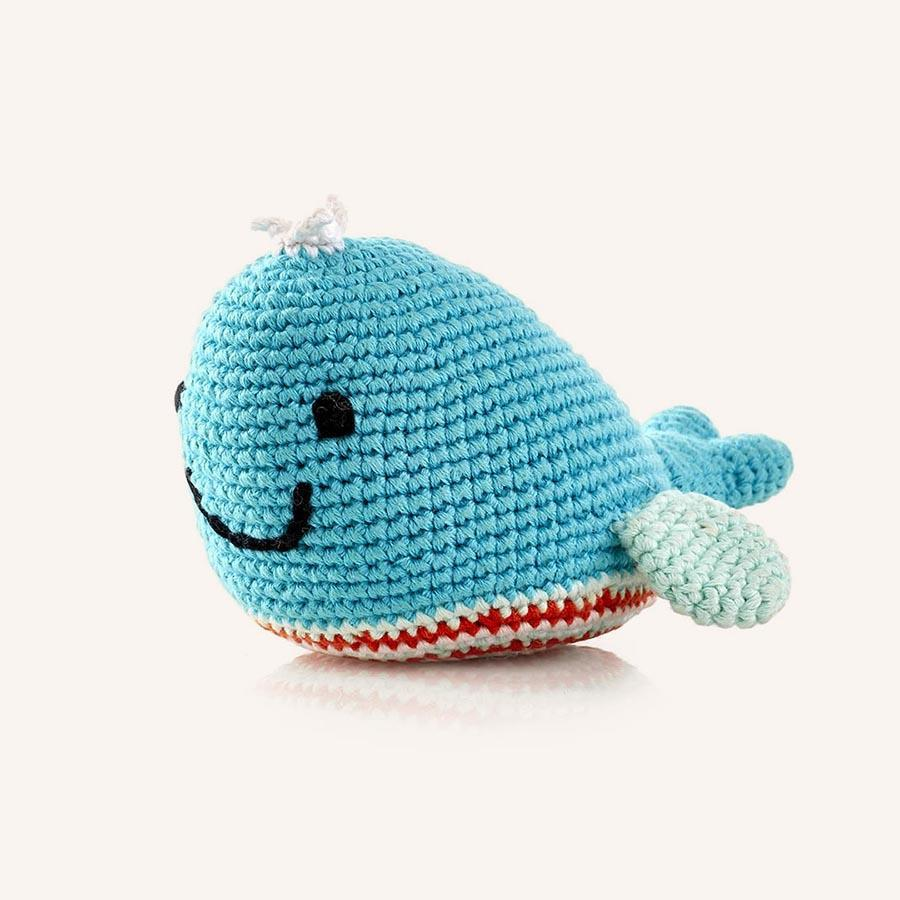 Fair Trade Cotton Turquoise Whale Baby Rattle