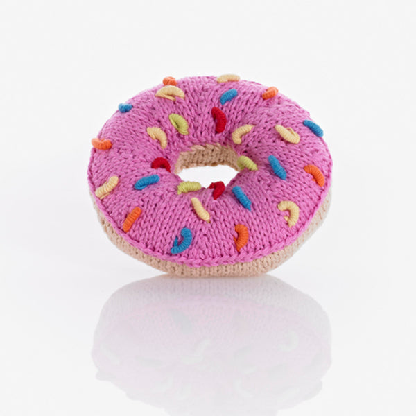 Fair Trade Cotton Strawberry Donut Baby Rattle