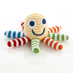 Fair Trade Cotton Knit Rainbow Octopus Baby Rattle