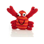 Fair Trade Cotton Knit Red and Orange Crab Baby Rattle