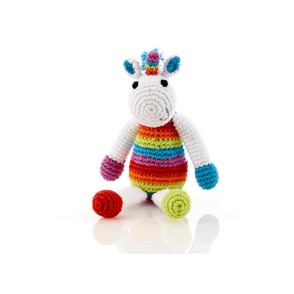 Fair Trade Cotton Rainbow Unicorn Baby Rattle