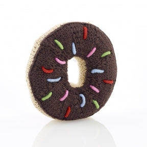 Fair Trade Cotton Chocolate Donut Baby Rattle