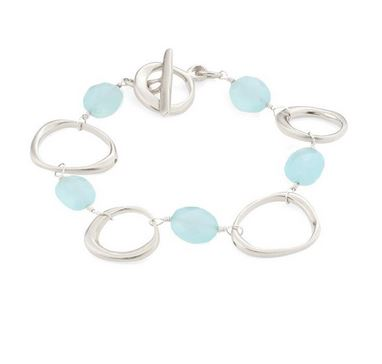 Faceted Chalcedony and Brushed Sterling Silver Circles Bracelet