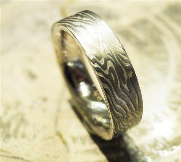Palladium 500 and Sterling Silver Mokume Gane Ring