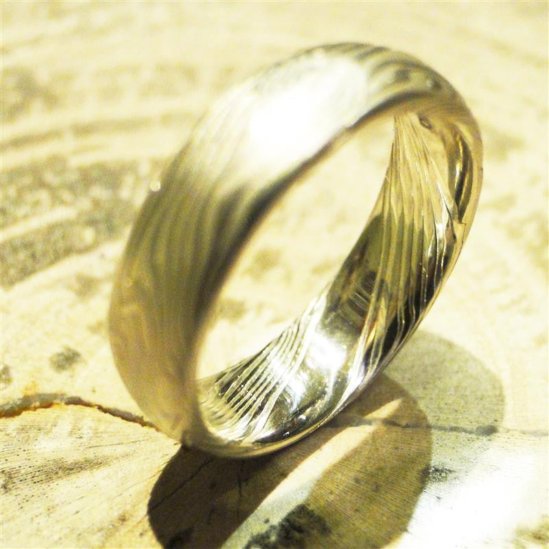 Platinum and Sterling Silver Mokume Gane Ring