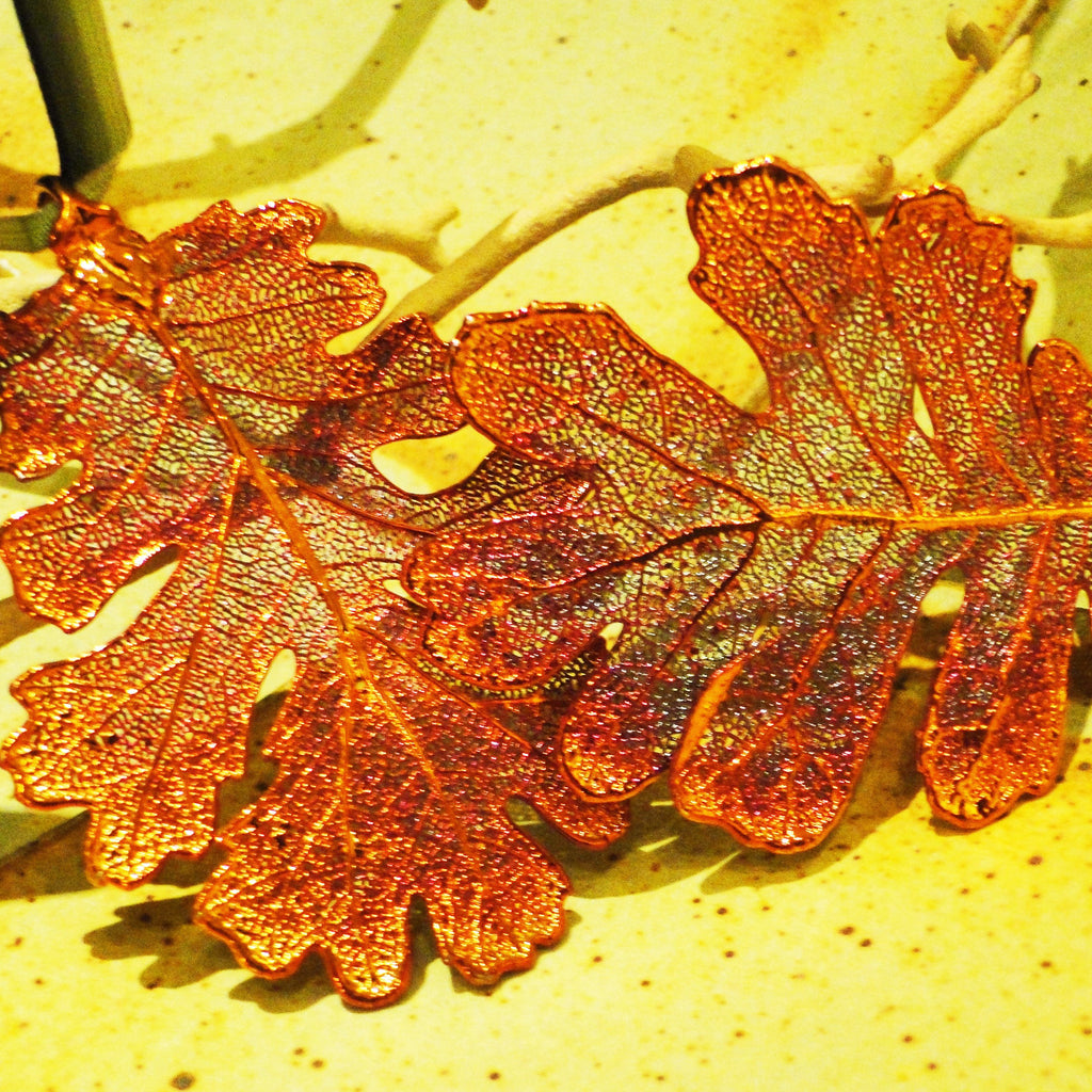 Pair of Iridescent Copper Fossilized Oak Leaf Ornaments