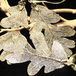 Pair of Silver Fossilized Oak Leaf Ornaments