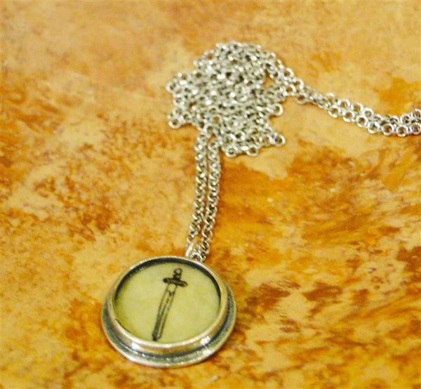 "Round Silver ""Sword"" Necklace"